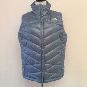 The North Face Light Blue Down Full Zip Vest Large